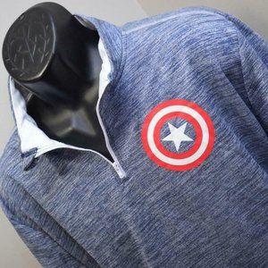 33249 New Marvel Captain America Zip Neck Sweater